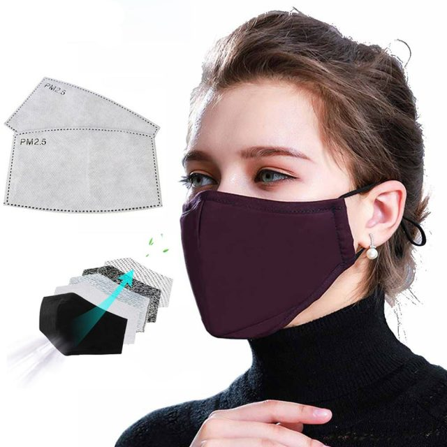 Tcare * Cotton PM2.5 Black Mouth Face Mask with 2 Activated Carbon Filter Windproof Mouth-muffle for Men Women Black Fashion